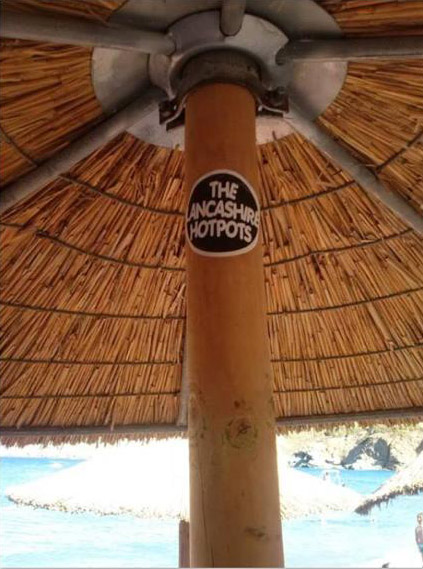 band sticker on a parasol