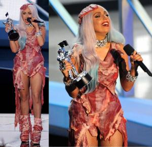 Gaga's wacky dresses ensured she got plenty of media coverage.