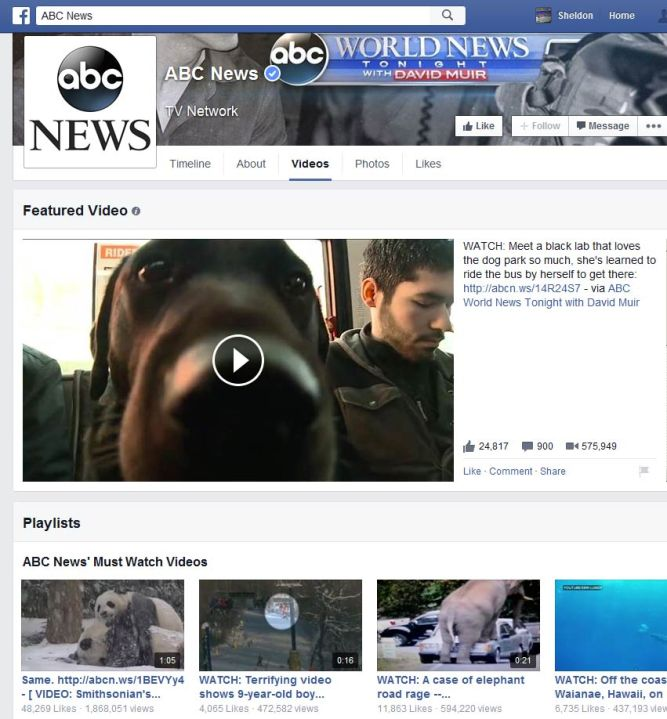 The new style Facebook Video page.
