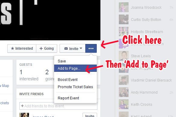 how to add an existing facebook event to your facebook gig calendar 60 second music marketing. Black Bedroom Furniture Sets. Home Design Ideas